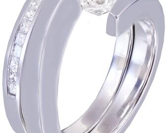 14k white gold princess cut diamond engagement ring and bands tension set 1.00ct H-VS2 EGL US