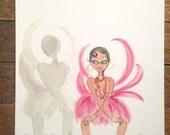 Josephine Baker Illustration, Josephine Shadow Dancing, Fashion Icon, African American Art. Josephine Baker's Shadow Dancing