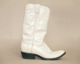 70s Cowboy Cream Patent Leather Boots Laramie Country Western 1970s Hippie Distressed / Women's Size 10 Men's 8.5