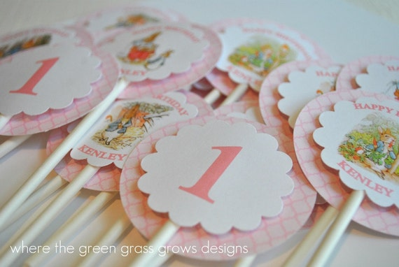 Beatrix Potter Cupcake Toppers Pink Edition