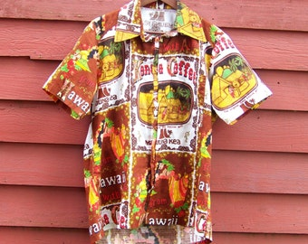 50s/60s  Bark Cloth Hawaiian Mauna Kea Kona Coffee All Over Print Bright Bold Summer Novelty Shirt L