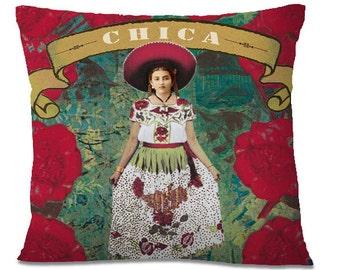 Mexican CHICA Folk Pillow Cover - Vintage Decor - Southwest Mexican - Señorita - Sombrero - European Linen Backing