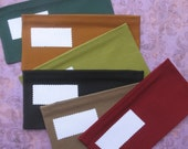 SIX Fabric Cash Envelopes Solid Envelopes for Paper Currency/6 Bright or Dark Colors