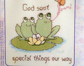 """God Sent Special Things our Way Counted Cross Stitch Kit –  Precious Moments  Fur-Ever Friends No. 131-0087 – 5"""" x 7"""""""
