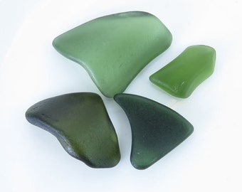 Green Undrilled Sea Glass Original Surf Tumbled Beach Glass for Wrapping Jewelry Mosaic DIY