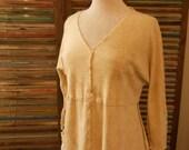 Baby Doll Raglan Tunic Hand Dyed Buckskin Ecru Hemp & Organic Cotton Women's Size S/M