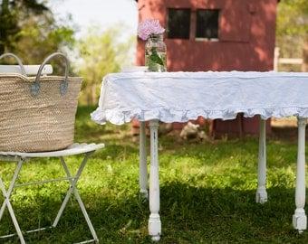 Ruffled Linen Custom Fit/Slipcover Tablecloth