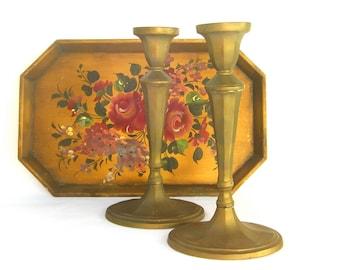 Vintage Tall Brass Candesticks, Candle Holders, Georgian, Elegant, Matte Gold, Cozy Home, Boho Cottage Decor