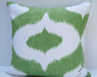 Green Ikat Pillow Cover, Green Ikat Throw Pillow, 18x18 Cushion Cover