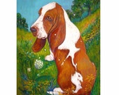 Basset Hound Dog  art painting pet portrait ORIGINAL  dog art oil pastel landscape hound impressionistic 18 x 24""