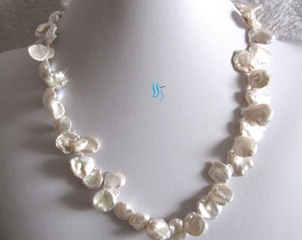 Pearl Necklace - 20 inches  9-15mm Ivory Keshi Single Row Freshwater Pearl Necklace- Free shipping