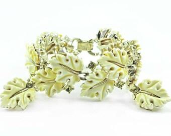Vintage LISNER Yellow Oak Leaf Bracelet and Earring Demi - Rare Color