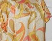 70s Dress, Keyloun, Shift, Mod, Gold, Olive, Orange, Paisley, Silk, Size L/XL