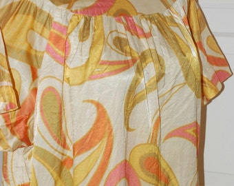 70s Dress, Keyloun, Shift, Mod, Gold, Olive, Orange, Paisley, Silk, Size L/XL