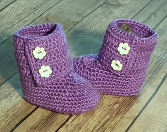 Crochet Booties Purple 6-12 months Baby Shoes