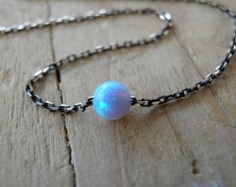 Opal Necklace Box Chain Black sterling silver necklace Tiny One 4mm Opal Necklace Opal Jewelry Minimalist Pendant Delicate Necklace Pendants
