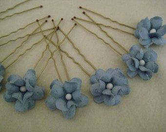 Sky Blue Flower Hair Pins  x 8. Wedding, Bridal, Regency, Victorian