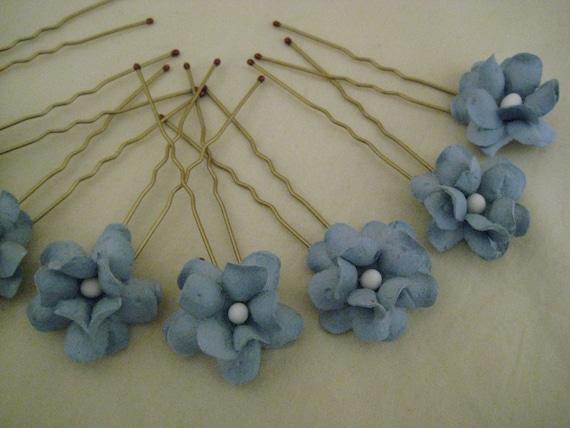 Sky Blue Flower Hairpins x 8. Wedding, Bridal, Regency, Victorian