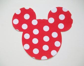 DIY No-Sew Mickey Mouse red Pollka Dot Applique - Iron On