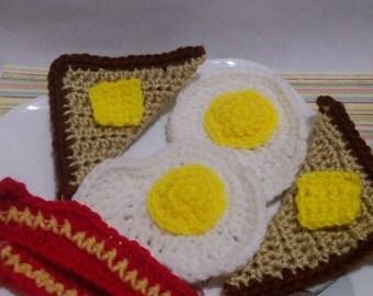 Crochet Pretend Food, Breakfast-eggs, bacon, toast and butter.