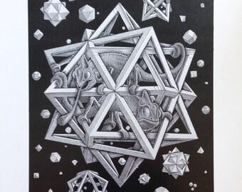 MC Escher Stars An Original Book Page Illustration from Vintage 1983 Art Book