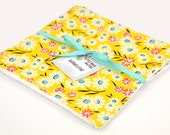 READY to SHIP! Washcloth or Cloth Wipes with Soft Terrycloth -Set of 2 in Daisies Yellow Turquoise Orange