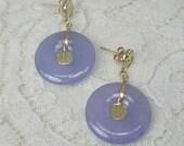 Vintage Lavender Jade Chinese Character Round Pierced drop Earrings