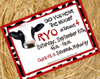 Did you hear the MOOS? Cow Birthday Invitation, Farm Invitation, Personalized Digital Invitation.
