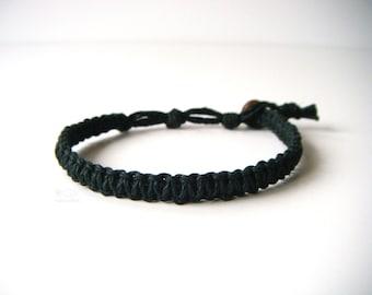Black Hemp Bracelet, Indie Hemp Works, Hemp Bracelets, Hemp Anklets, Black, Onyx, Simple, Aromatherapy, Bracelet, Anklet, Minimalist