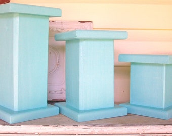 3 Solid Wood Robin's Egg Blue Pillar Candleholders