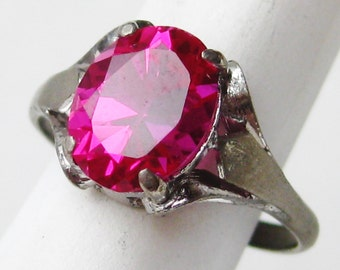 Vintage Ring Jeweled Art Deco Sterling Silver 1.75ct Red Ruby Ring size 6 1/4