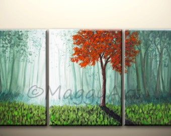 Made To Order,morning red tree,misty forest,textured, 54x24inch,large original modern painting, ready to hang