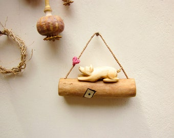 I love my dog, wall hanging, miniature wall art, miniature sculpture, wall decoration, unique wood carving, dog figurine, miniature animal