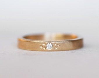 Diamond Wedding Band - 3mm Wildflower 14k Gold rectangular Band - Eco-Friendly Recycled Gold