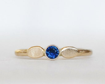 Blue Sapphire Petal Ring -  Gold Sapphire Ring - Choose 14k or 18k Gold