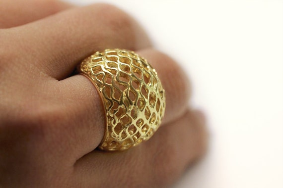 Gold Chunky Ring Unique Big Bee Hive Statement ring Organic