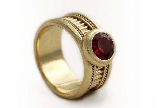 14k gold promise ring red garnet gemstone ring unique. Black Bedroom Furniture Sets. Home Design Ideas