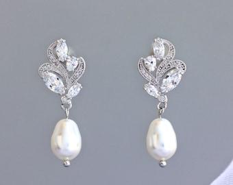 Bridal Crystal Earrings, Bridal Earrings, Crystal Stud Earrings, Pearl Drop Earrings, Bridal Jewelry, Pearl  Wedding Earrings, FLEUR
