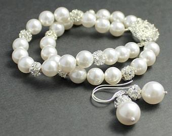 Pearl and Crystal Bridal Set, Pearl Bridal Bracelet & Earrings, Wedding Jewelry, Bridal Jewelry, Bridesmaids Jewelry Set