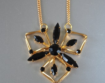 Czech Vintage Pendant Black Onyx Glass Atomic Modern Necklace 70's Goldtone