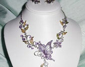 Buttterfly silver & Crystal Necklace and Pierced Earring Set, 22 inch adjustable