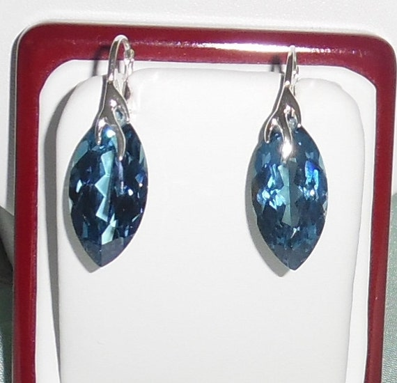 41cts Marquise cut London Blue stones, Sterling silver leverback Pierced Earrings