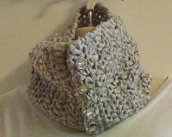 Crocheted Cowl Scarf - Silvery Gray with Sparkling Buttons
