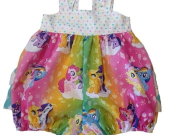 My Little Pony Ruffled Sunsuit Bubble Romper for Girls Toddler Baby Infant