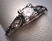 Antique Diamond Wedding Ring Platinum Vintage Art Deco 1930 Engagement