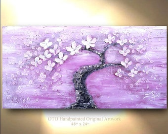 ORIGINAL Painting 24x48 White Flower Violit Purple Magenta Dark Pink Flower Abstract Painting Art Canvas oil Wall Decor Artwork by OTO