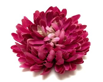 Silk Flowers - One Jumbo PINK Mum on a CLIP - 5.5 Inches - Artificial Flowers