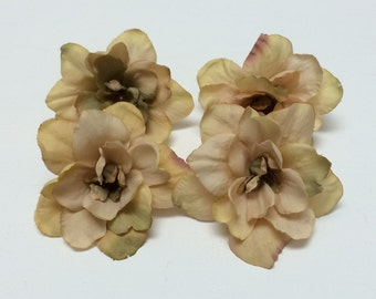 4 Delphinium Blossoms in Taupe - 3 Inches - Artificial Flowers, Silk Flowers, Flower Crown, Wedding, Millinery