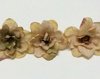 Silk Flowers - Three Delphinium Blossoms in Taupe - 3 Inches - Artificial Flowers