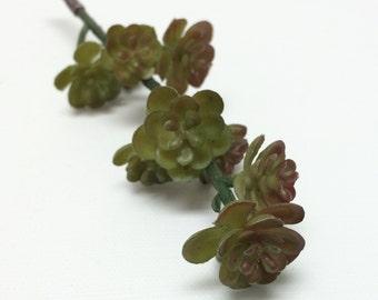Artificial Flowers - Burgundy GREEN Succulent Pick - Flower Crown, Terrarium, Fairy Garden